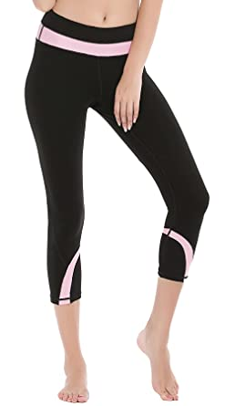 3e0f156eda7cea DeepTwist Womens Yoga Pants Running Capri Leggings Power Flex Workout  Tights with Back Zipper Pocket Pink