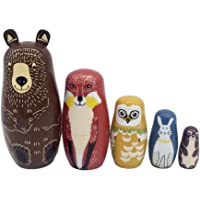 ECHODONE 5 pcs Aminal Nesting Dolls Bear Wooden Matryoshka Dolls for Kids Handmade Cute Cartoon Animals Pattern Russian Nesting Doll Toy Children's Day Gift