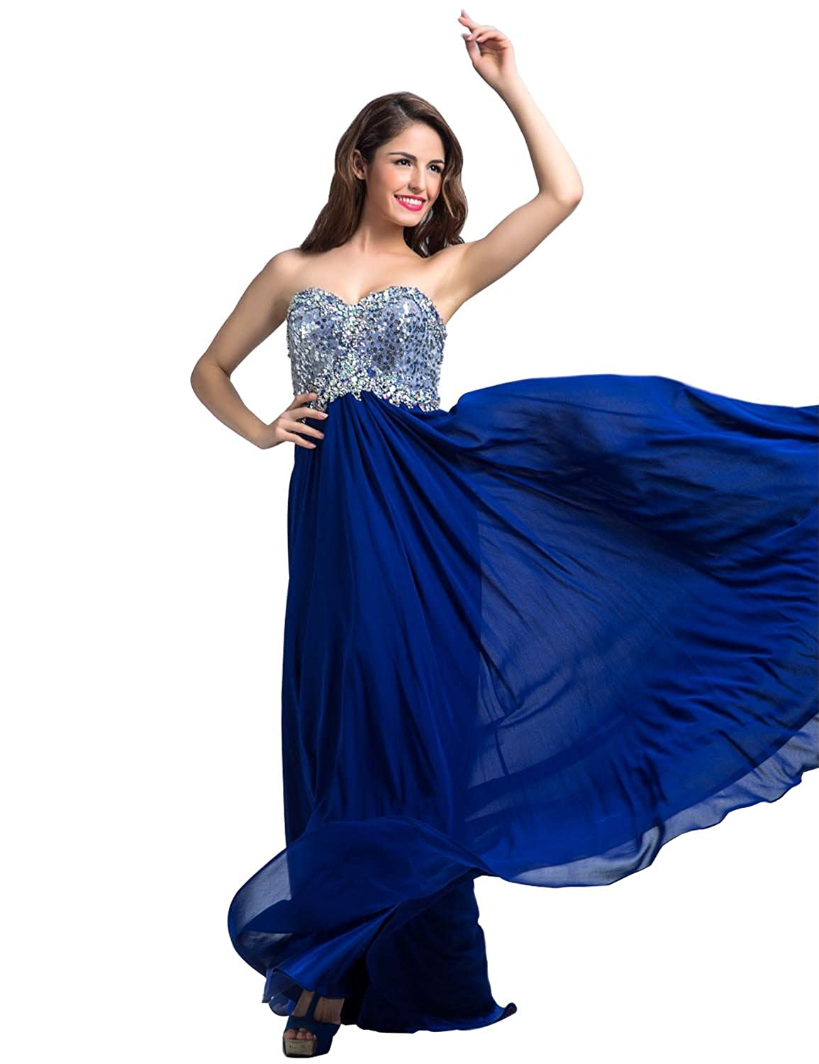 Clearbridal Women's Royal Blue Sweethrat Prom Evening Dress Chiffon Formal A-Line Bridesmaid Gowns with Beaded Sequin LX097