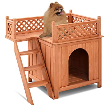 Giantex Pet Dog House, Wooden Dog Room Shelter with Stairs, Raised Roof and Balcony Bed for Indoor and Outdoor Use, Wood Dog House