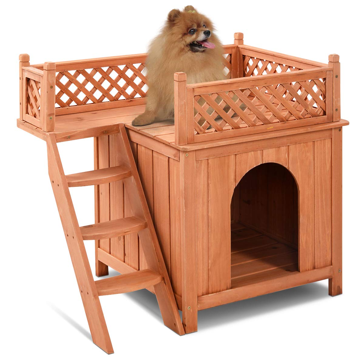 Giantex Wood Dog House With Balcony