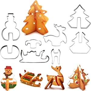 XYBAGS 3D Christmas Cookie Cutter Set, 8 Piece Cookie Cutters, Holiday Cookie Biscuit Cutter Set - Snowman, Christmas Tree, Reindeer and Sled for Kids Christmas Party