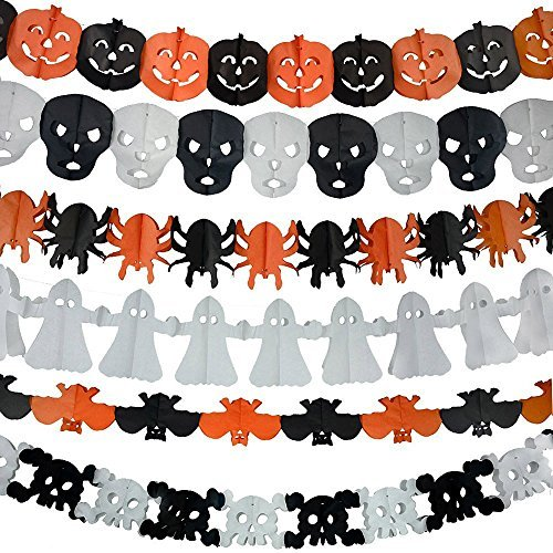 Halloween Paper Garland,6 Different pack, Happy Halloween Party Decoration Tissue Paper Garland Halloween String Banner ,Pumpkin Bat Ghost Spider Skull Shape for $<!--$8.95-->