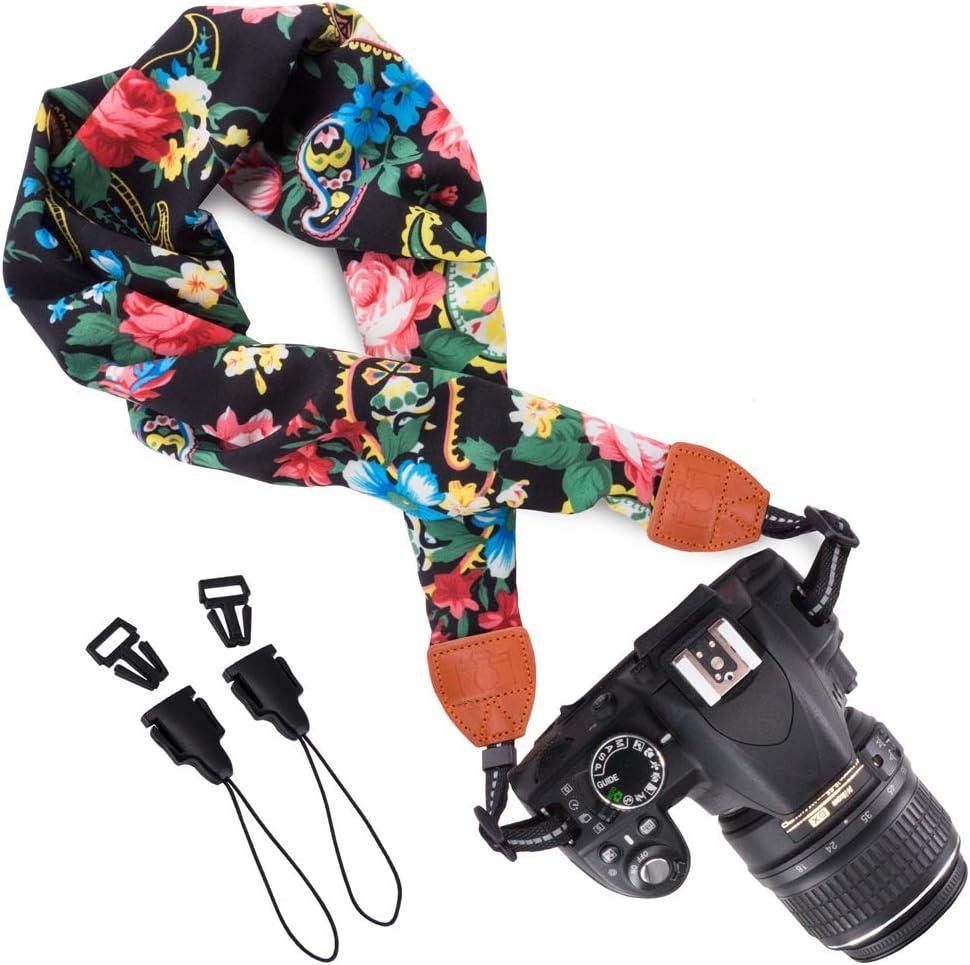 Wolven Soft Scarf Camera Neck Shoulder Strap Belt Compatible with All DSLR//SLR//Digital Camera //Instant Camera//Nikon//Canon//Sony//Olympus//Leica//Fujifilm Etc DC Multicolor
