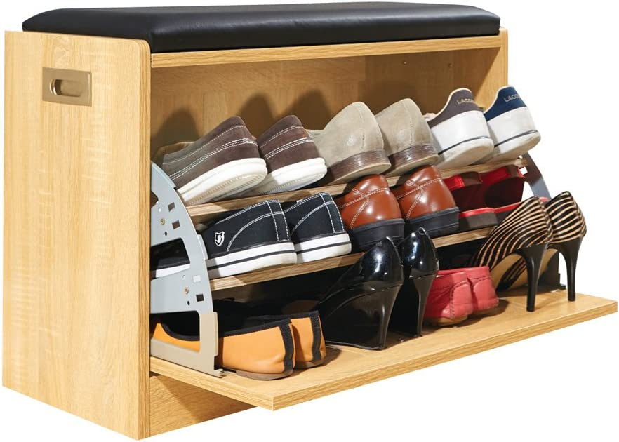 Wooden Shoe Cabinet Storage Bench W Seat Cushion Holds Up To 12 Pairs Natural Amazon Co Uk Kitchen Home