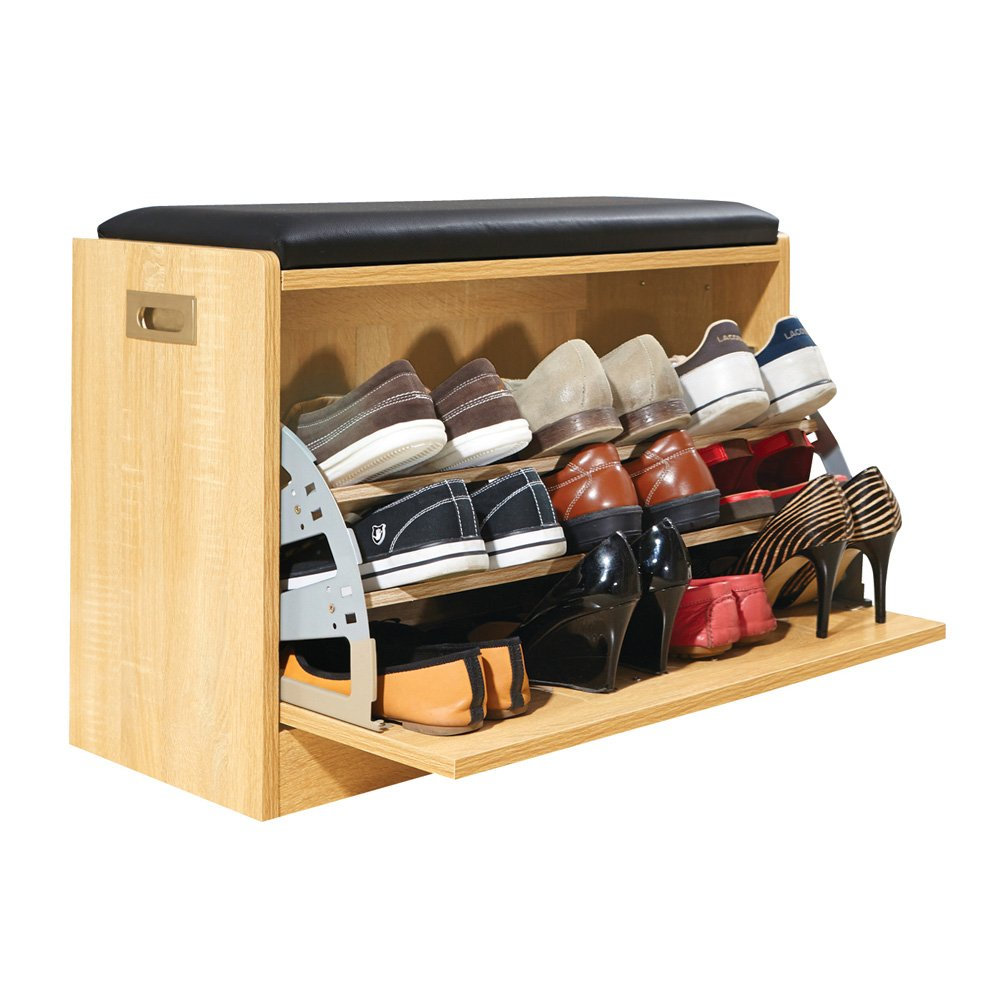 Wood Shoe Storage Bench Cabinet Rack For Bedroom Entryway