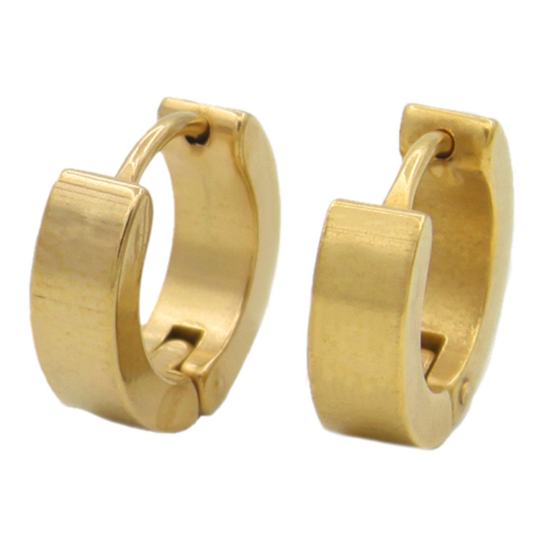 1 Pair Cool Men's Stainless Steel Hoop Earring 4 Colors Available