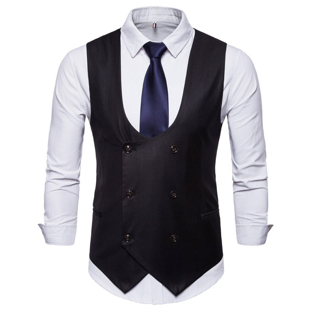 Xbreco Mens Double Breasted Business Suit Dress Vests Formal Tuxedo