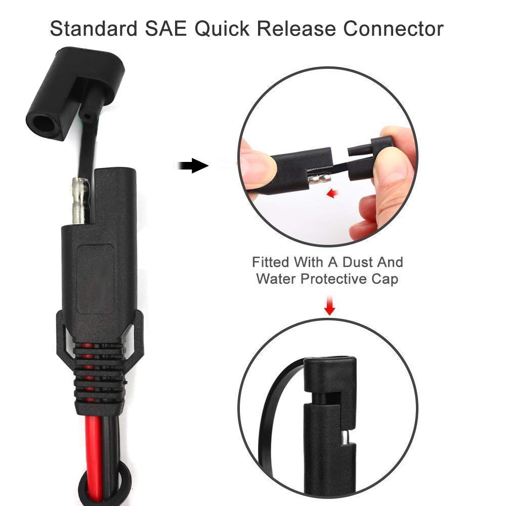 SAE DC Power Automotive Connector Cable Y Splitter 1 to 3 SAE Extension Wire Harness 16AWG 2ft