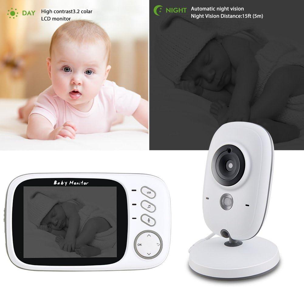 EtekStorm Moniteur pour b/éb/é vid/éo sans Fil /à Affichage num/érique LCD 3,5 Pouces Rechargeable Discours Audio bidirectionnel Moniteur de temp/érature Nocturne Vision