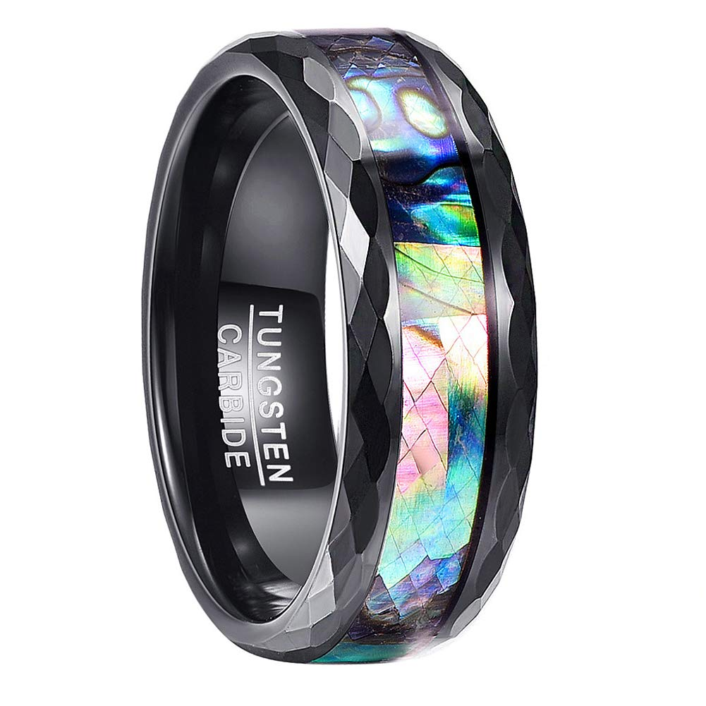 Vakki Men's Women's 8mm Black Tungsten Carbide Band Ring Abalone Shell Polished Faceted Wedding Rings Size 8