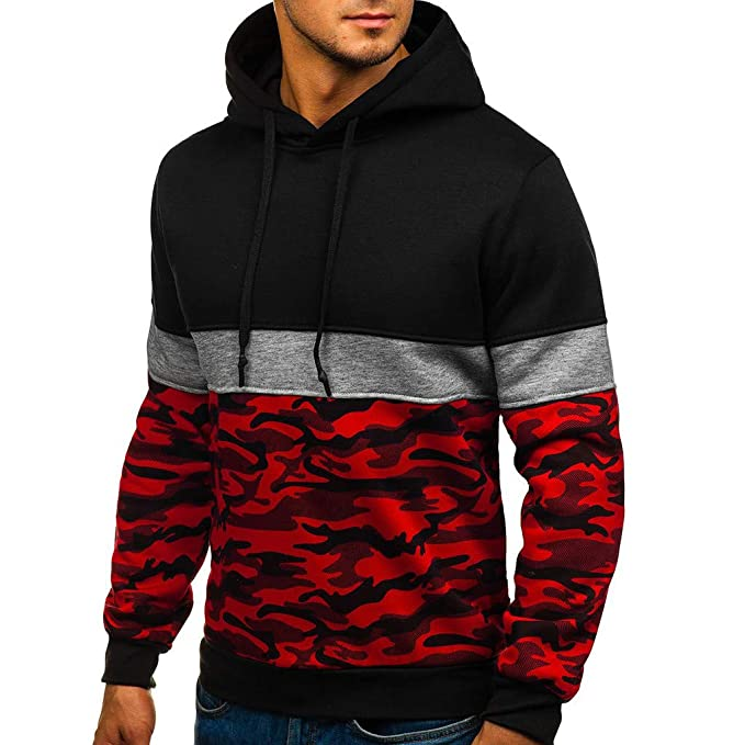 Amazon.com: Men Camouflage Pullover Hoodie Long Sleeve Hooded Sweatshirt Camo Tops: Clothing
