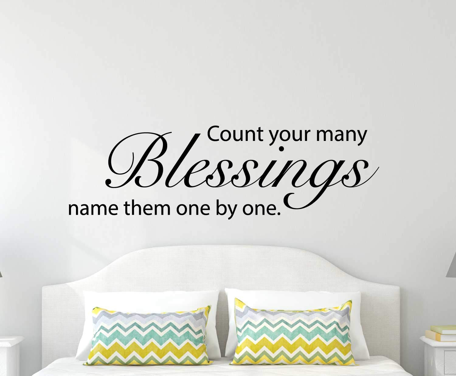 Count Your Many Blessings Vinyl Wall Decal Quote Song Lyrics For Living Room Bedroom Headboard Religious Inspirational Design For Christians Black White Brown Red Blue Pink 25 Colors Handmade
