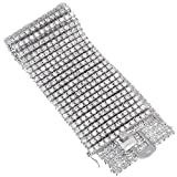 8.5 Inch 12-Row Rhodium Plated Iced Out Hip Hop Bracelet with White Cubic Zirconia CZs + Bonus Polishing Cloth