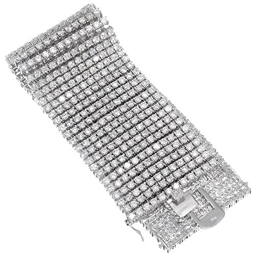 8.5 Inch 12-Row Rhodium Plated Iced Out Hip Hop Bracelet with White Cubic Zirconia CZs + Bonus Polishing Cloth by The Bling Factory
