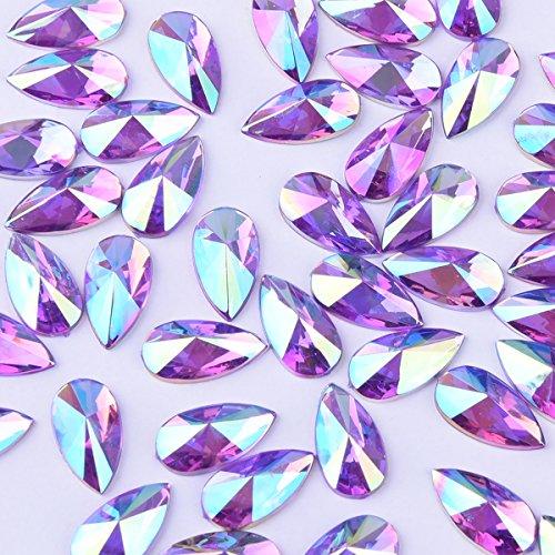 8x13mm Water Droplets Light Crystal AB Acrylic Special Effects Rhinestones Teardrop AB Acrylic FlatBackship Whip Free Gift From yoyole (purple) (70)