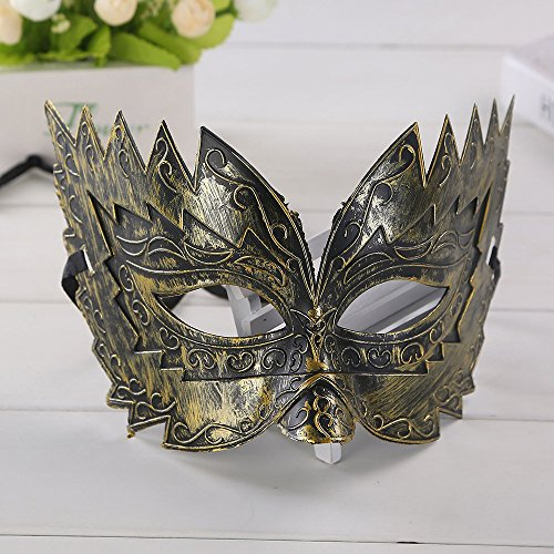 Tuscom Masquerade Half Face Hero Man Mask,for Nightclub Bar Halloween Masquerade(2 Style) (Gold)]()
