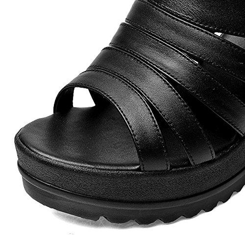 Amoonyfashion Kvinna Spänne Öppen Tå Höga Klackar Ko Läder Fasta Sandaler Svart