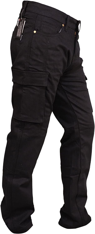 Cargo Black SGI-BIKE Herren Dupont/™ Kevlar/® Motorrad Jeans Hose Motorradjeans mit 4X Protektoren