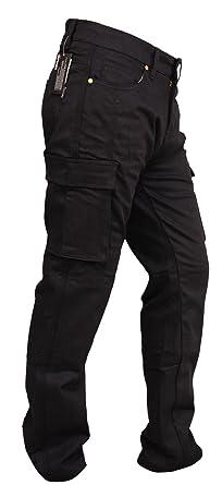 SGI-BIKE Hombre duponttm Motocicleta Kevlar Jeans Pantalones Vaqueros para Motorista con Protectores de 4 x (Cargo Black)