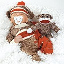 """Paradise Galleries Baby Doll That Looks Real, Sock Monkey Business 16"""" (Weighted Body) (Artist: Angela Anderson) Great for Reborn"""