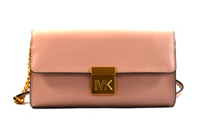 6da0a7fb96b56f Michael Kors Mindy Leather Convertible Clutch Crossbody Bag Purse Handbag  (Fawn)