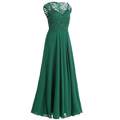Tiaobug Elegant Damen Kleider festlich V-Ausschnitt Cocktailkleid Lange  Chiffon Abendkleider Brautjungfernkleid Gr. 34-46: Amazon.de: Bekleidung