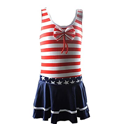 4Young Bow Tie Swimsuit Nevy Striped Style Swimwear Modern Fashion Dress for 6-12 Years Old Girls