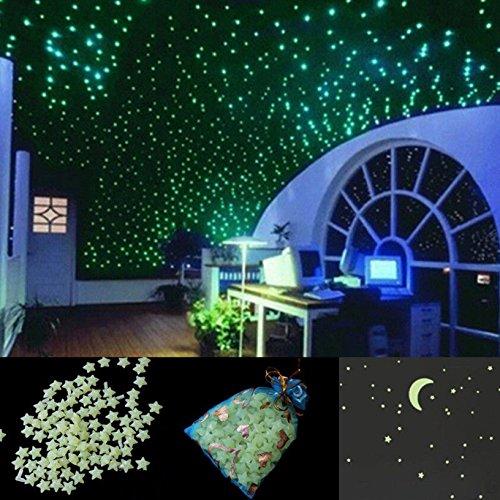 toyofmine 200x estrellas Luna Pegatinas recámara Casa Pared habitación decoración brillan en la oscuridad (no pegamento)