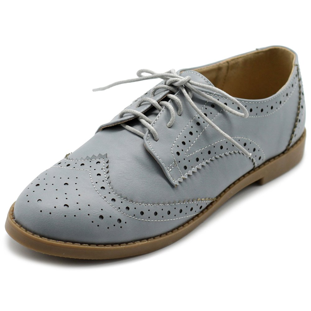 Ollio Women's Flats Shoes Wingtip Lace Up Oxfords M2921 (10 B(M) US, Ice Grey)