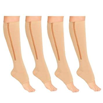 a9c8120079 Medicee Open Toe 15-20 mmHg Zipper Compression Leg Ankle Calf Circulation  Swelling Relief Stocking