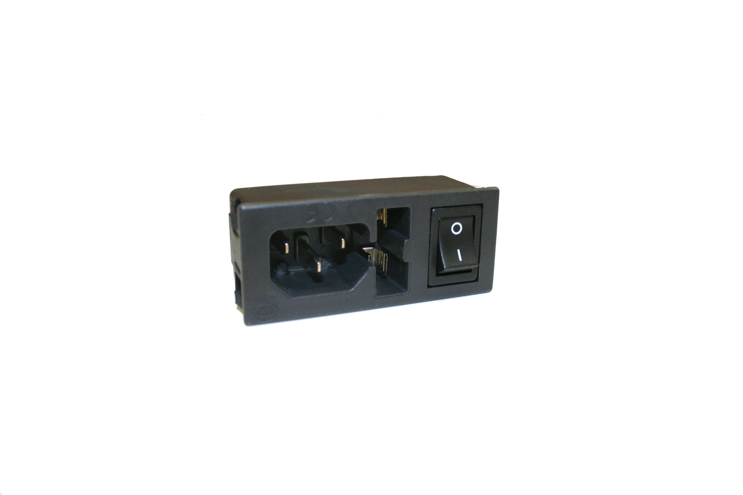 Interpower 83510160 Three Function Single Fused Power Entry Module, C14 Inlet, Single Fused, Switch, 1-2mm Panel Thickness, 10A/6A Current Rating, 250VAC Voltage Rating by Interpower