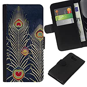 KLONGSHOP // Tirón de la caja Cartera de cuero con ranuras para tarjetas - Armada Bluer Pluma del dibujo del arte - Samsung ALPHA G850 //