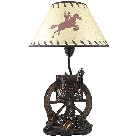 Horse saddle on wagon wheel desktop or table lamp in gifts for horse saddle on wagon wheel desktop or table lamp in gifts for cowboys and western home aloadofball Gallery