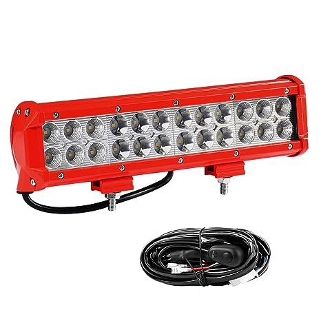 Amazon led light bar wiring harness yitamotor 12inch 72w red led light bar wiring harness yitamotor 12inch 72w red led work light pod offroad driving aloadofball Choice Image