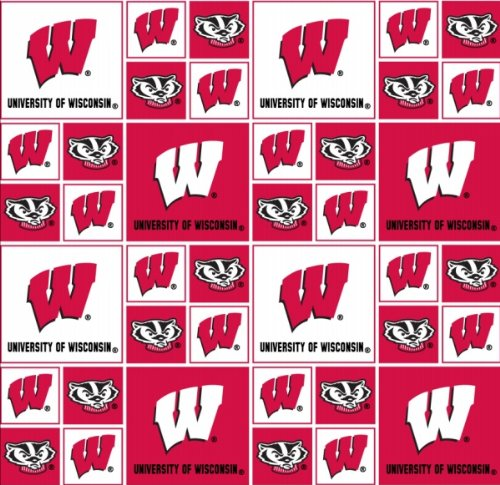 Cotton University of Wisconsin Badgers College Team Sports Cotton Fabric Print By the Yard College Cotton Fabric