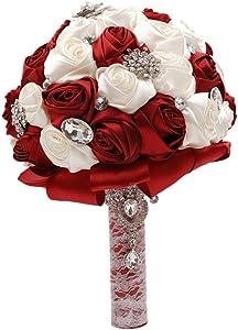 Abbie Home Silk Bridal Bouquet with Crystal Rhinestones Rose Wedding Holding Flowers (Ivory + Burgundy)
