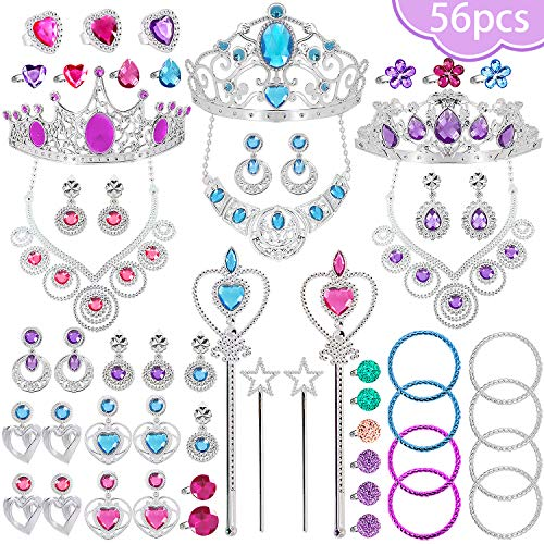NINAOR 56 Pack Princess Jewelry for Girls Princess Dress Up Accessories Kids Play Jewelry for Girls Included Crown Wand…