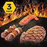HoneyBull BBQ Grill Mat (3 Pack) Heavy Duty Grill Mat | Non-Stick, Safe, Reusable, Easy Clean, Gas & Charcoal Grills (15.75 x 13 inch) Up to 600°F – Black