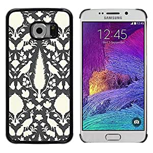 LECELL--Funda protectora / Cubierta / Piel For Samsung Galaxy S6 EDGE SM-G925 -- Wallpaper Grey Peacock Feather --