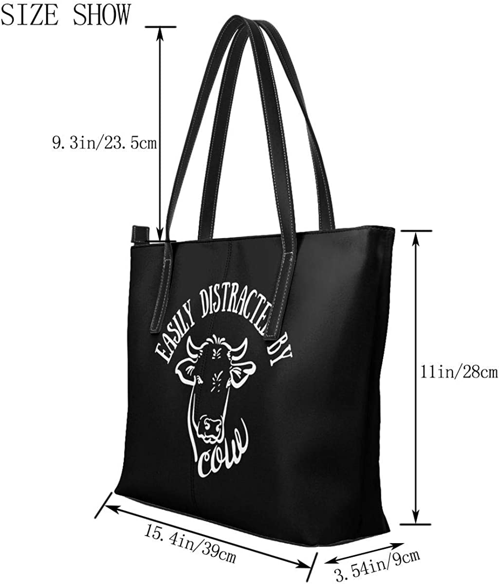 Easily Distracted By Cows Handbag For Men /& Women Leather Big Capacity Tote Shoulder Bag
