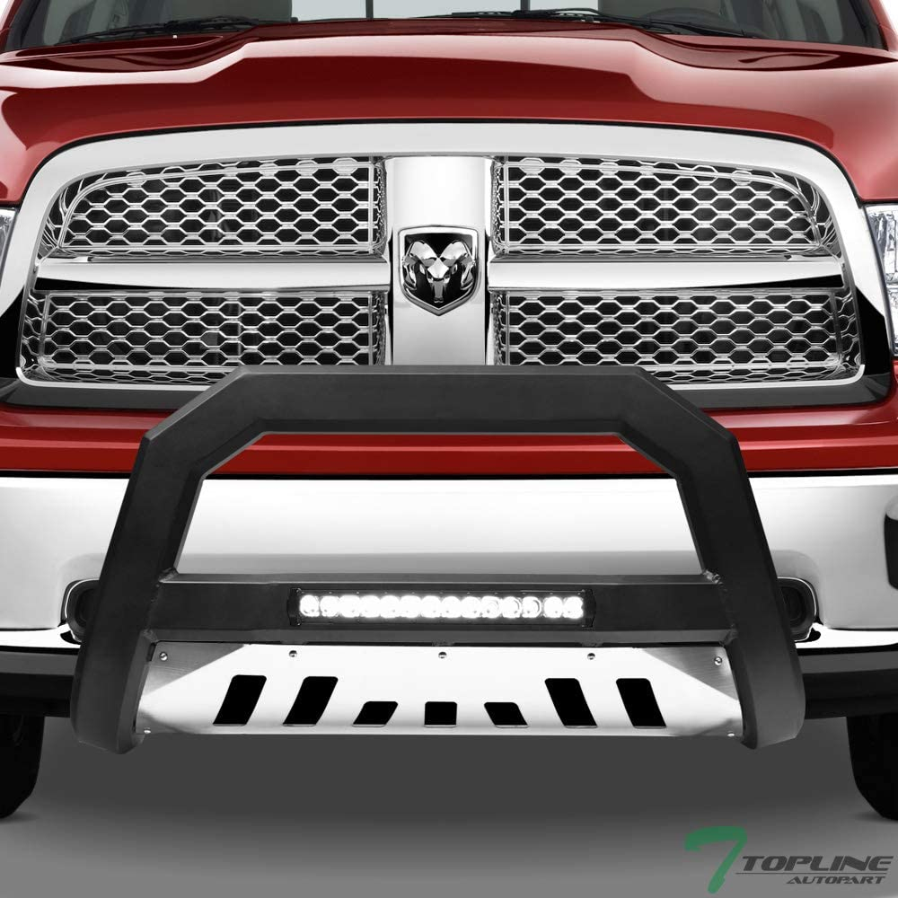 Topline Autopart Matte Black AVT Style Aluminum LED Light Bull Bar Brush Push Front Bumper Grill Grille Guard With Stainless Skid Plate For 10-18 Dodge Ram 2500//3500