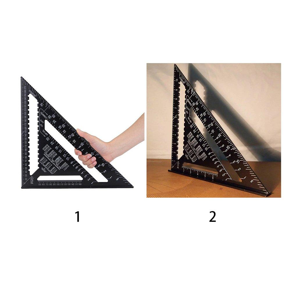 Cleme 30 cm 12inch Metric System Nero Righello Triangolare in Alluminio Sistema metrico//Britannico con goniometro Quadrato a Doppia Scala