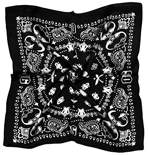 Black White Abstract Printed Thick Small Silk Square Scarf (Bandana Silk Printed)