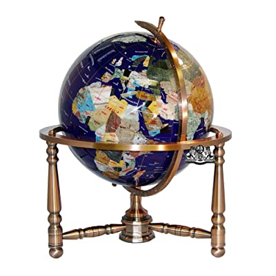 Unique Art 19-Inch Tall Blue Lapis Ocean Table Top Gemstone World Globe with Copper Stand w USA Divided State Stones and Divided Canadian Provincial Stones: Home & Kitchen