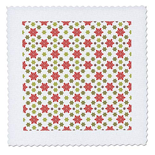 - 3dRose Anne Marie Baugh - Christmas - Cute Red and Green Big and Little Snowflake Pattern - 10x10 inch quilt square (qs_318537_1)