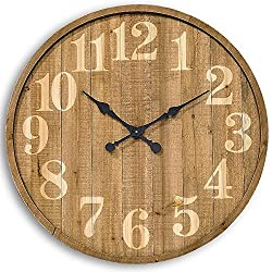 Whole House Worlds The Vineyards Wine Barrel Top Clock, Galvanized Metal Side Band, Rustic Pine Wood, 1 AA Battery (not included) 30 3/8 Diameter Inches, By