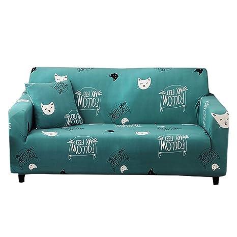 CHYOOO Funda De Sofa Tela Verde Suave con Estampado De Gato ...