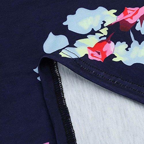 Casual XL Au Longues Femmes Manches S Floral Longueur Anniversaire Ligne Ceinture Robe Imprime Lache Shirt Ete Robe Print de Genou Robes A T Party LUBITY Soire pour Robe 0WpFwXqwZ