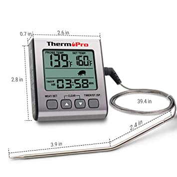 ThermoPro TP-16S Digital Meat Thermometer Accurate Candy Thermometer Smoker Cooking Food BBQ Thermometer for Grilling with Smart Cooking Timer Mode and Backlight
